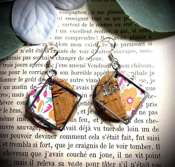 Boucles d'oreilles Cuir de liège - Bouquet de fleurs