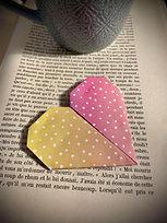 marque page origami coeur coucher de sol