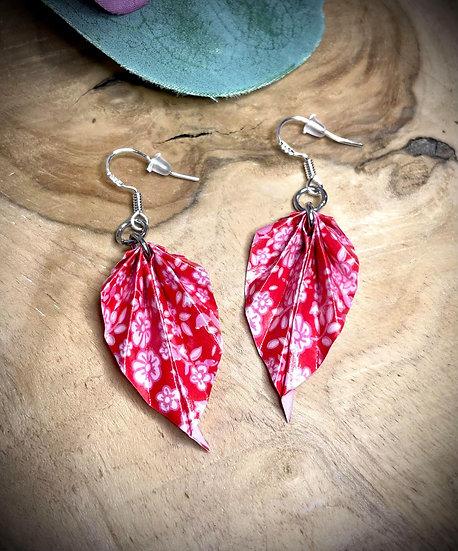 Boucles d'oreilles Origami Feuilles - Rouge Passion