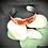 Thumbnail: Bracelet Jonc Acier et Papier - Kraft et Fleurs Rouges Métallisées