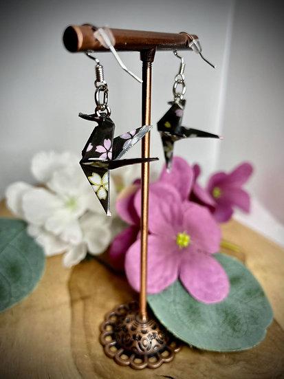 Boucles d'oreilles Colibris -  Fleurs de Sakura