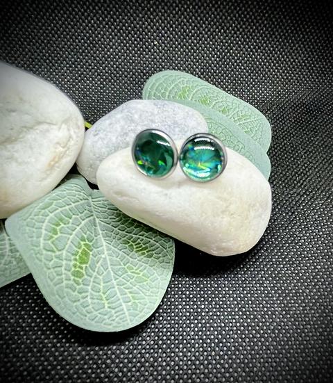 Clous d'oreilles - Holographique Green Stars