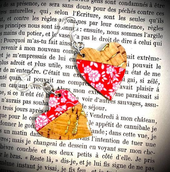 Boucles d'oreilles Cuir de liège - Rouge Passion