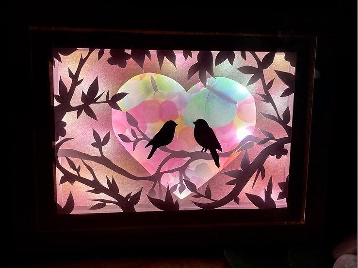 Shadow Light Box - Oiseaux Amoureux