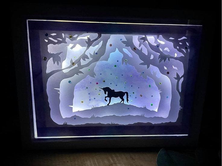 Shadow Light  Box- Licorne Bleue