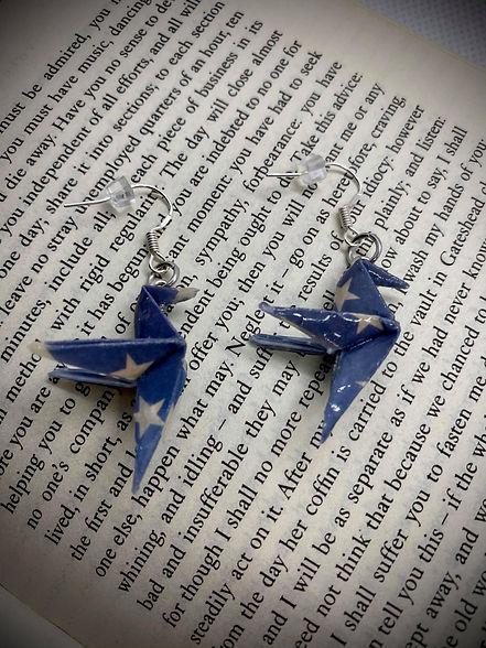 Boucle oreille origami colibri bleu etoi