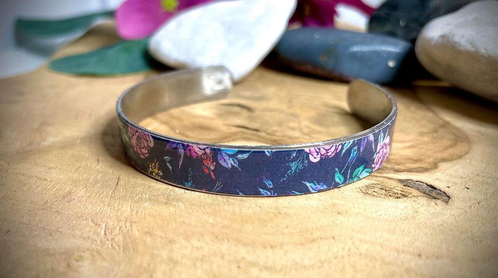 Bracelet Jonc Acier et Papier - Bleu Marine Fleuri