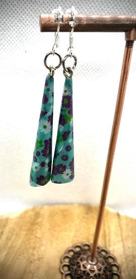 Boucles d'oreilles Papier Roulé Turquoise Fleurs Japonaises