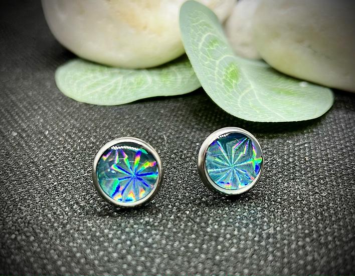 Clous d'oreilles -  Turquoise Holographique