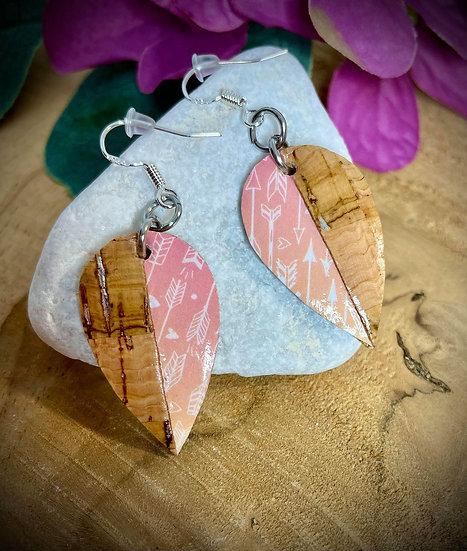 Boucles d'oreilles Cuir de liège - Flèche de Cupidon