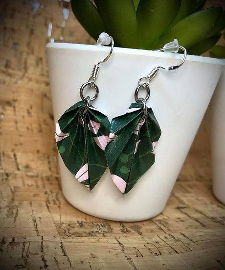 Boucles d'oreilles Feuilles  Vert et Rose