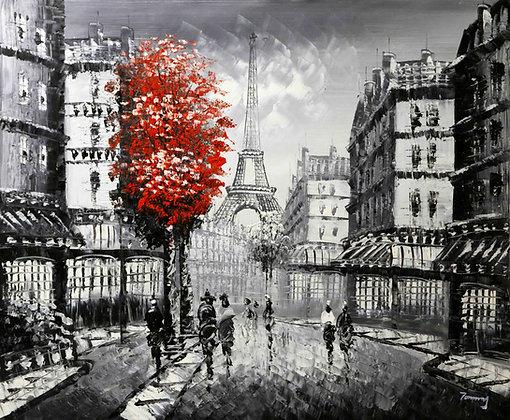 Paris - Eiffel Tower Red Tree