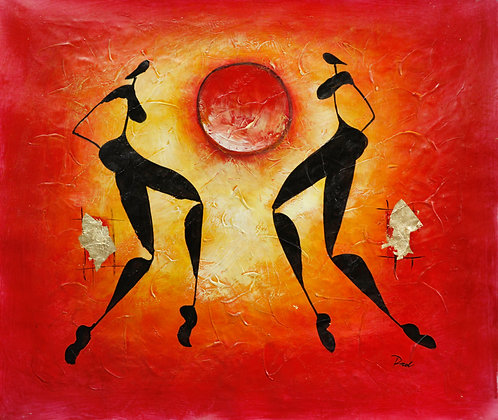 African Dancers at Sunset Red