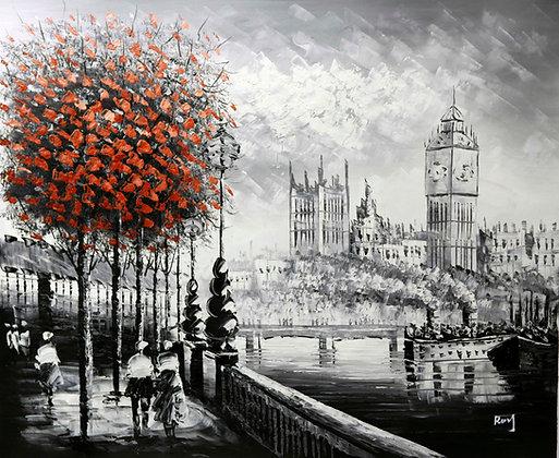London - Big Ben Red Tree