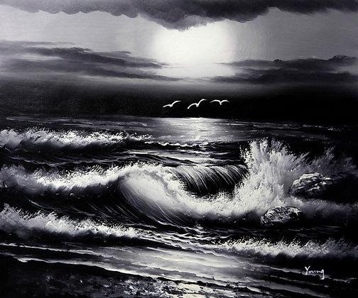 Ocean Sunset in black & white