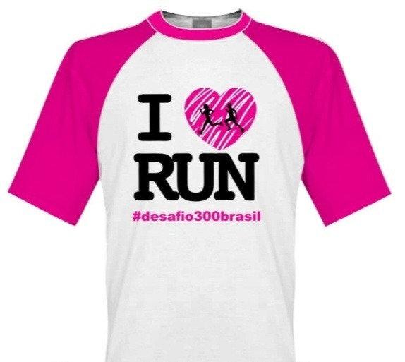 Camisa Branca manga Rosa - I Love Run