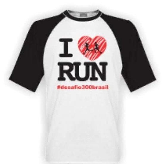 Camisa Branca manga Preta - I Love Run
