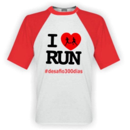 Camisa Branca Manga Vermelha- I Love Run