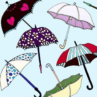 """Has it been a rainy day with you guys? 💧☔🌂"", (Fue un día de lluvia para ustedes?) minniemorrisart"