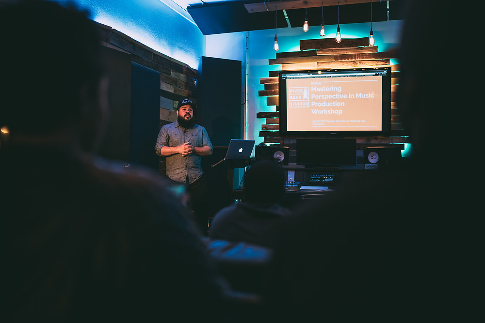 Jesus Tossas giving a Mastering Workshop at River Bear Studios