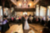 couple dancing at their wedding at all saints chapel