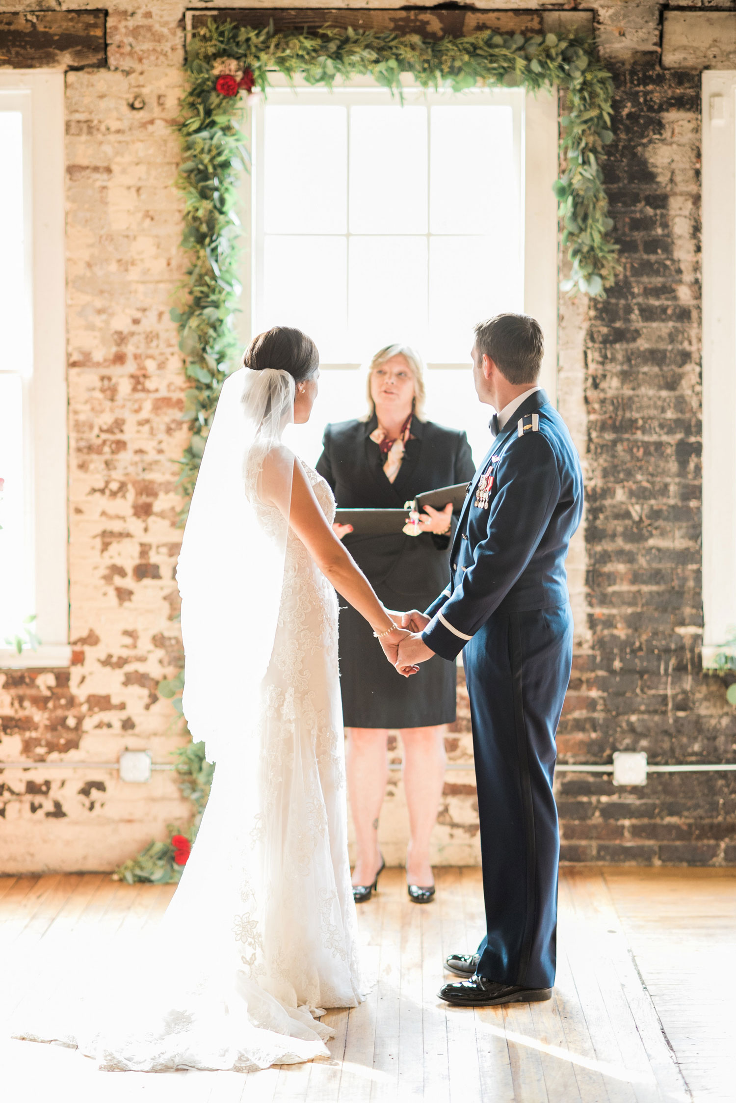 couple and officiant