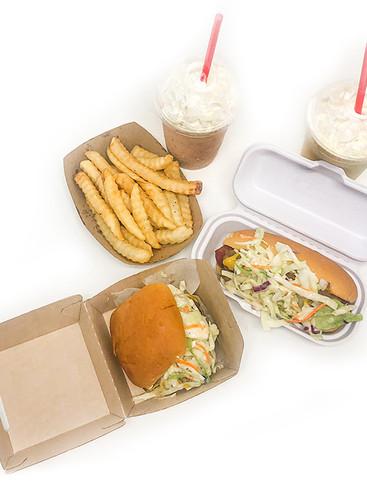 Carolina Burger, Dog, Fries, Shakes overhead shot