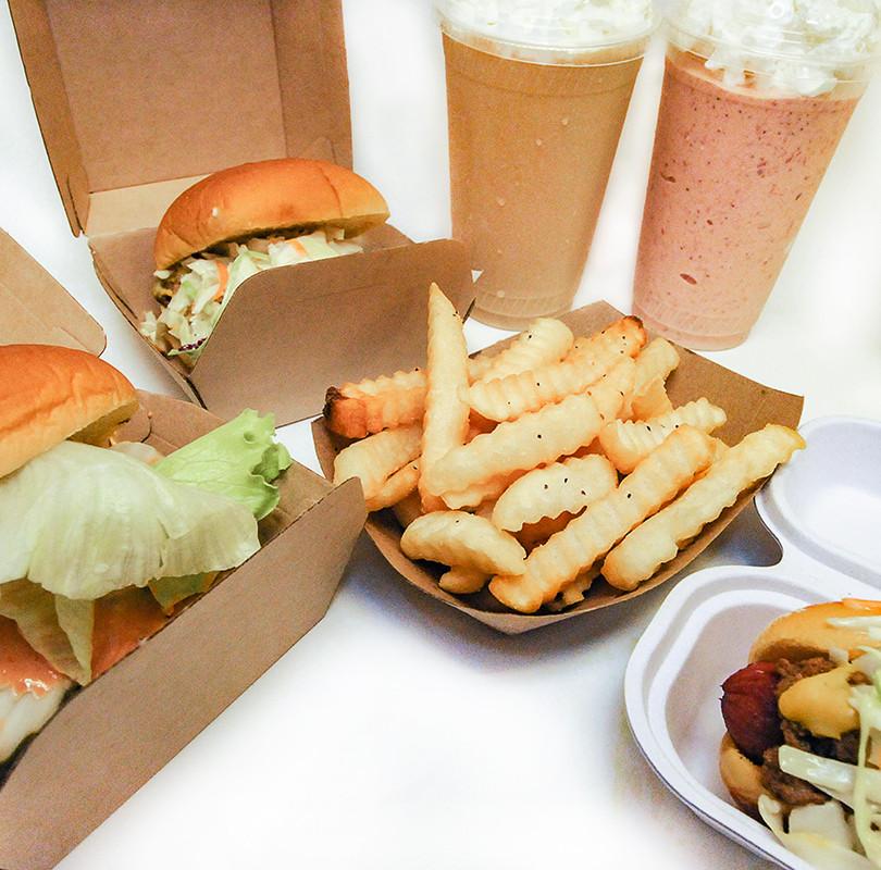 Burgers, Fries, Dog, Shakes, closeup