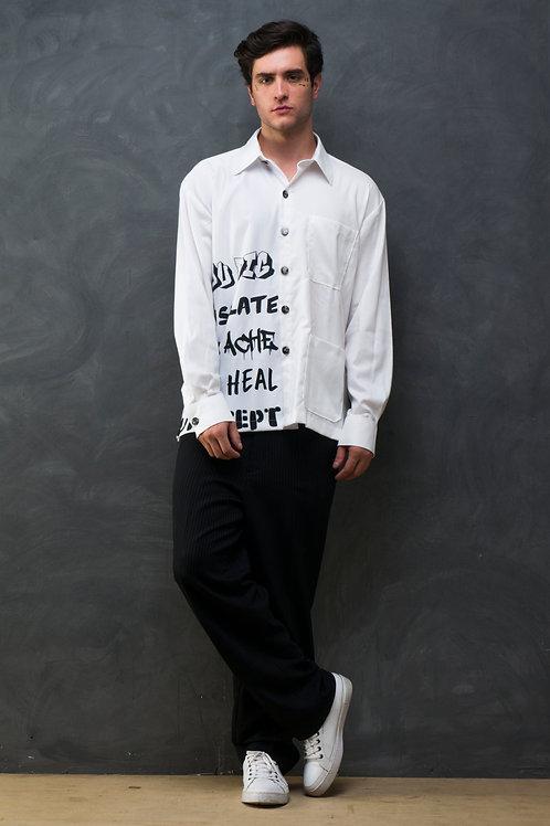 Graffiti Printed Mix Embroidered Shirt