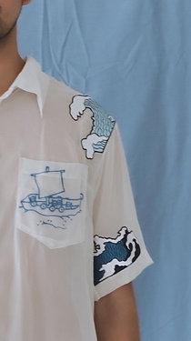 Hand Embroidered Ocean Sheer Shirt