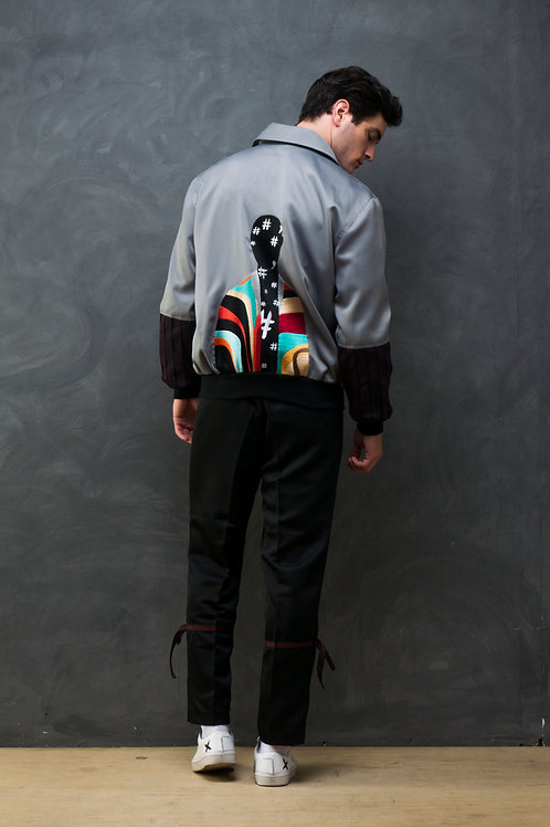 Graffiti Embroidered Bomber Jacket