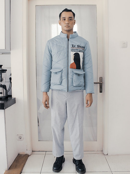 Hand Embroidered Headline News Quilted Jacket