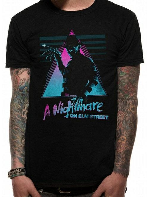 Nightmare On Elm Street - Unisex Large Retro T-Shirt (Black)