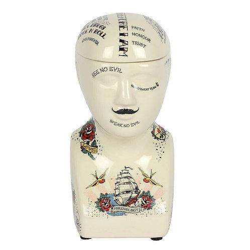 Phrenology Tattoo   Storage Jar