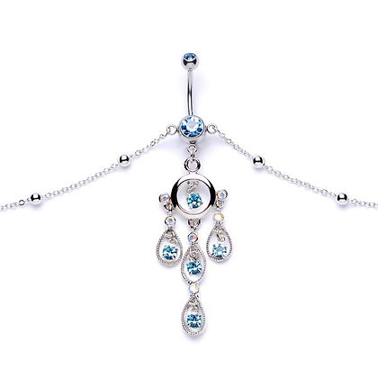 Aqua Gem Chandelier Dangle Belly Ring Belly Chain