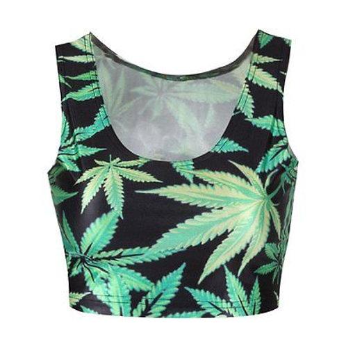 Weed Leaf Stretchy Sleeveless Crop