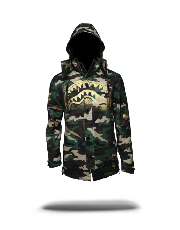 GOLD STENCIL SHARK CAMO PARKA JACKET