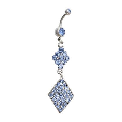Surgical Steel 1.6mm Diamond Shape Navel Bar (Blue)