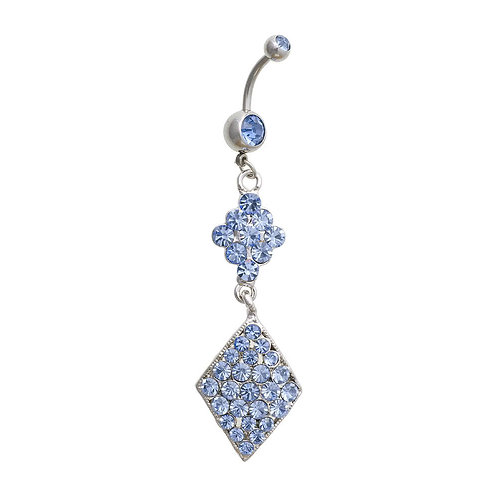 Surgical Steel 1.6mm Diamond Shape Navel Bar (Blue)