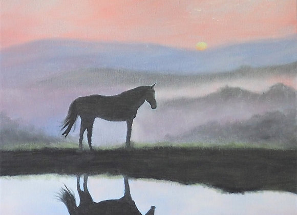 Horse in the Early Morning Mist
