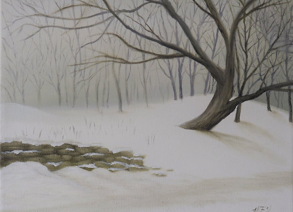 Stone Wall in Winter