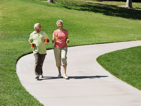 Walking is a great time to socialize and enjoy our landscaping