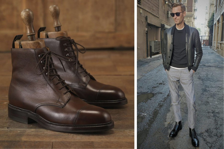brown leather boots and black leather boots