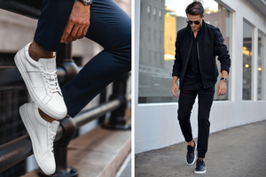 A pair of black or white low-top sneakers are essential shoes for men