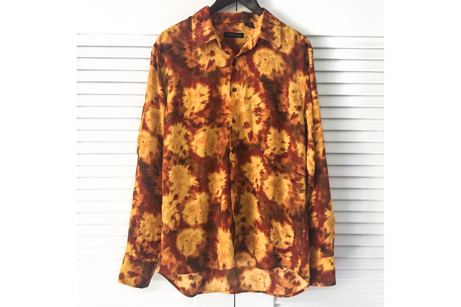 Ugly red, yellow and orange flame style dress shirt