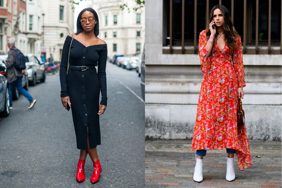 best way to wear a long dress or skirt is with ankle boots