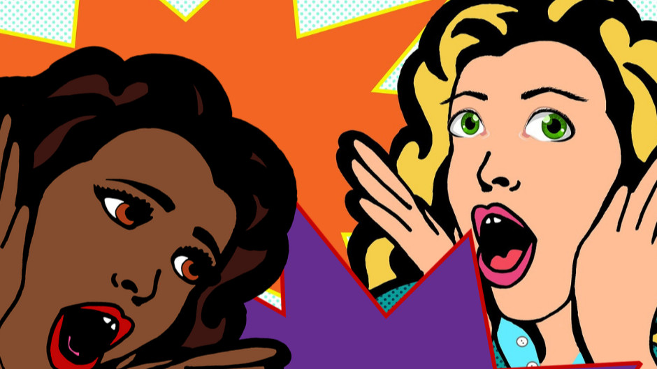 Two surprised or shocked women in the pop art style