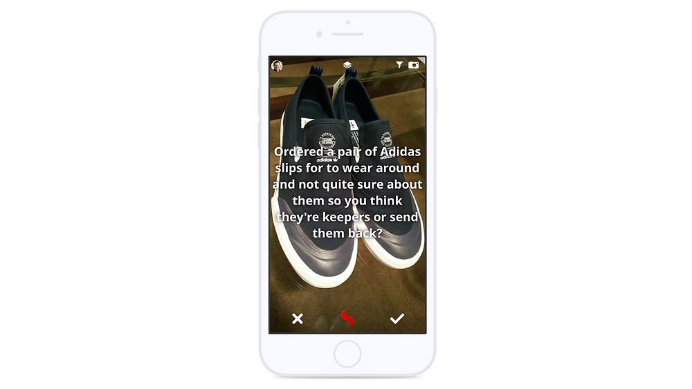 Mobile device displaying STYL with a user asking for outfit advice on adidas sneakers