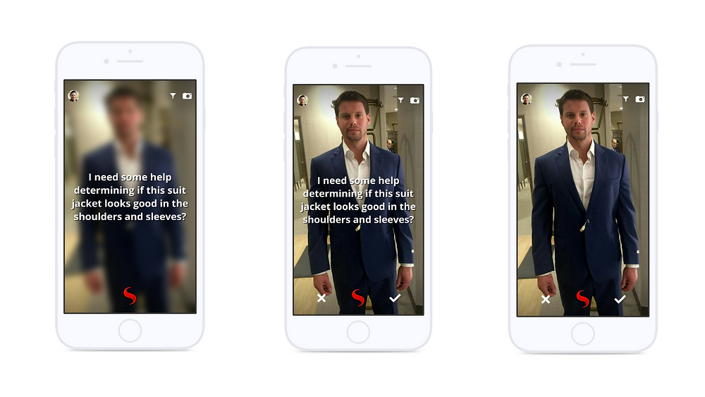 Moblie device displaying screenshots of a user ask for outfit advice on styl app