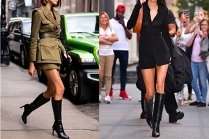 Wear a short dress or mini dress with a tall fitted boot